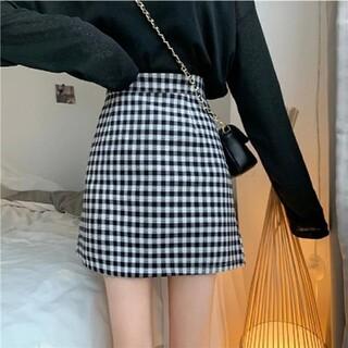 ゴゴシング(GOGOSING)の韓国 チェックミニスカート ブラック 黒(ミニスカート)