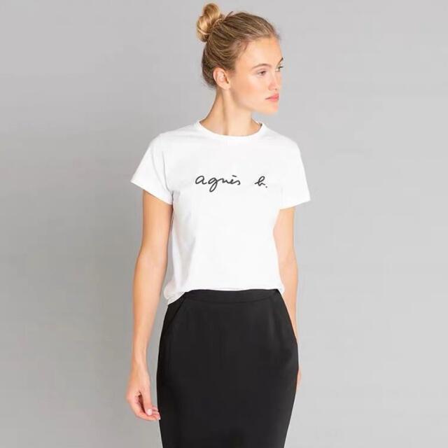 agnes b.(アニエスベー)のアニエスベー Tシャツ Lサイズ クルーネック 白 タグ付き レディースのトップス(Tシャツ(半袖/袖なし))の商品写真