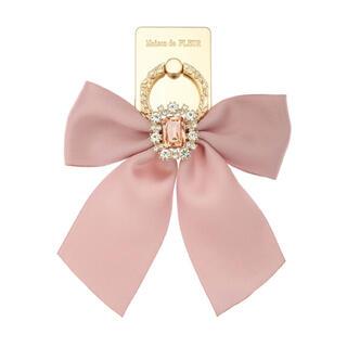 メゾンドフルール(Maison de FLEUR)のピンク☆ベージュ☆Maison de FLEUR☆ビジュー☆リボン☆スマホリング(その他)