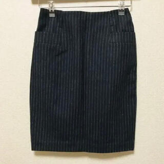 エイチアンドエム(H&M)のH&M エイチアンドエム 紺 ネイビー ストライプ 膝丈 スカート(ひざ丈スカート)