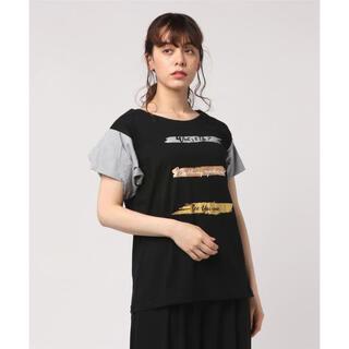 インタープラネット(INTERPLANET)の新品 定価9900円 インタープラネット シャツ袖 デザイン Tシャツ 黒(Tシャツ(半袖/袖なし))