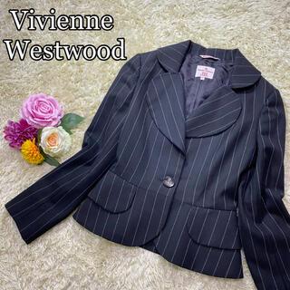 ヴィヴィアンウエストウッド(Vivienne Westwood)の【美品】ヴィヴィアン ラブジャケット ストライプ オーブ ボタン ハート(テーラードジャケット)