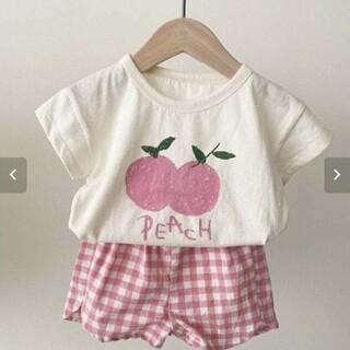 韓国子供服 2021夏新作 フルーツ柄ピーチ 半袖 Tシャツ ベビー カットソー(Tシャツ)