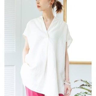 IENA - IENA【イエナ】☆リネンノースリーブスキッパーシャツ 新品 ホワイトA