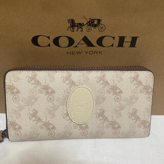 COACH - 【新品】コーチ ホース&キャリッジ シグネチャー ファスナー長財布 ホワイト