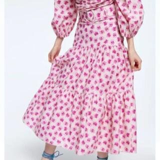 ザラ(ZARA)のZARA 花柄ベルト付きスカート(ロングスカート)