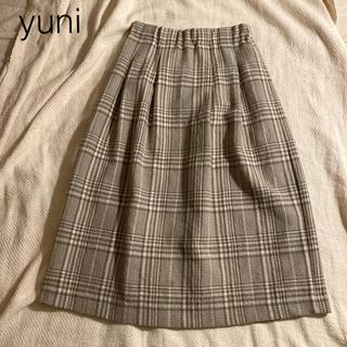 ビュルデサボン(bulle de savon)のyuni  ウールチェックスカート(ロングスカート)