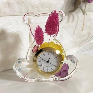 固まるハーバリウムで作ったクマさんの置き時計
