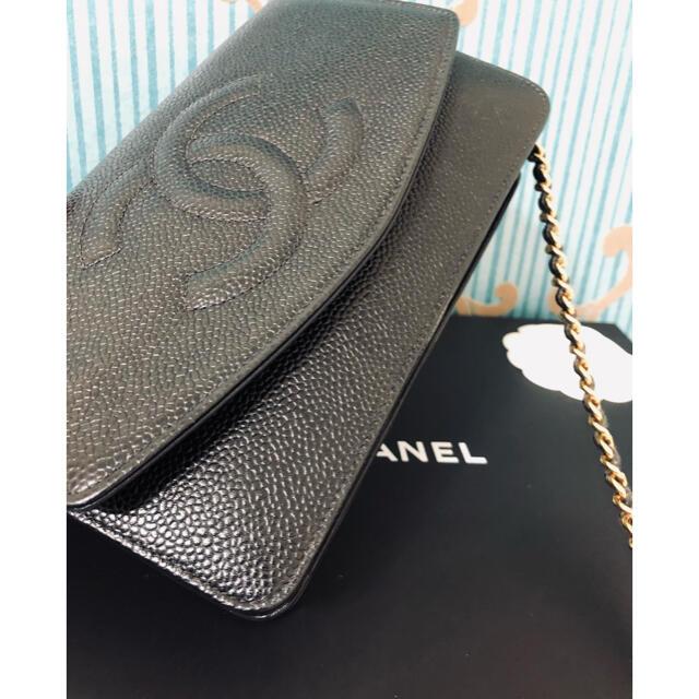 CHANEL(シャネル)の329正規品★超美品‼️シャネル キャビアスキン チェーンウォレット レディースのバッグ(ショルダーバッグ)の商品写真