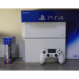 プレイステーション4(PlayStation4)のPS4本体+ソフト3本  CUH-1200A グレイシャーホワイト(家庭用ゲーム機本体)