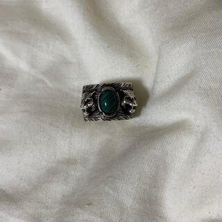 グッチ(Gucci)のGUCCI ガーデン マラカイト キャットヘッド リング 指輪(リング(指輪))
