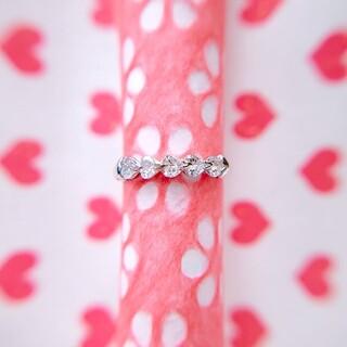 ♡ Pt900 ハートシェイプカット ダイヤモンド ピンキーリング ♡