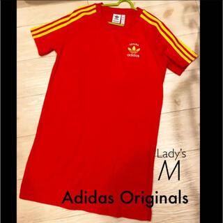 アディダス(adidas)のアディダス スペイン❤︎Adidas 3ストライプス TシャツワンピースM(ミニワンピース)