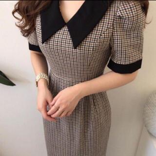 dholic - 韓国 襟付き チェック ワンピース
