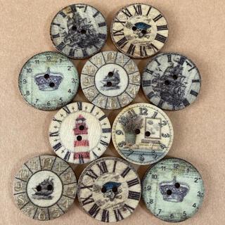 新品未使用 レトロ 時計 木のボタン ウッドボタン 10個