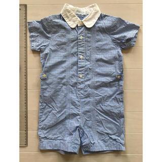 ラルフローレン(Ralph Lauren)のラルフローレン ベビー ロンパース 男の子 サイズ80 水色 ギンガムチェック(ロンパース)