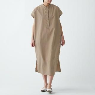 MUJI (無印良品) - ≪新品≫ 無印良品 インド綿高密度織りワンピース/ONESIZE/モカブラウン