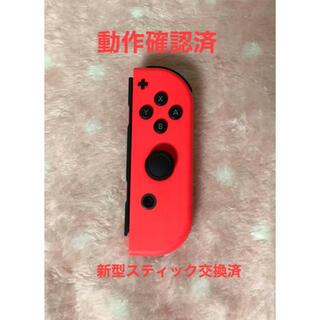 ニンテンドースイッチ(Nintendo Switch)のニンテンドースイッチ ジョイコン 右 ネオンレッド 動作確認済 スティック交換済(家庭用ゲーム機本体)