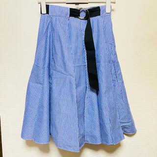 ザラ(ZARA)のZARA ブルー ストライプ ラップスカート フレアスカート(ひざ丈スカート)