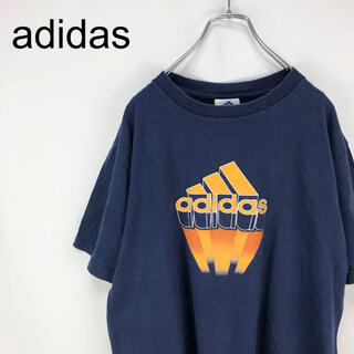adidas - アディダス☆デカロゴ 紺色 半袖 Tシャツ カットソー 90s