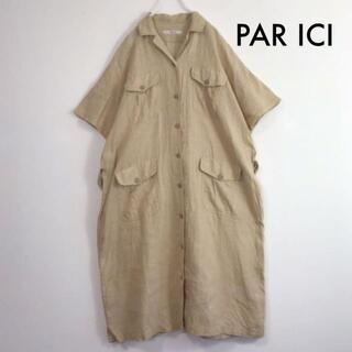 パーリッシィ(PAR ICI)のパーリッシィ リネン100% 半袖 前開き ロング シャツワンピースナチュラル系(ロングワンピース/マキシワンピース)