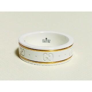 グッチ(Gucci)のGUCCI アイコン イエローゴールド ホワイト ジルコニア パウダー リング(リング(指輪))