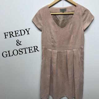 フレディアンドグロスター(FREDY & GLOSTER)の美品 FREDY&GLOSTER スウェード風 ワンピースサイズ36(ひざ丈ワンピース)