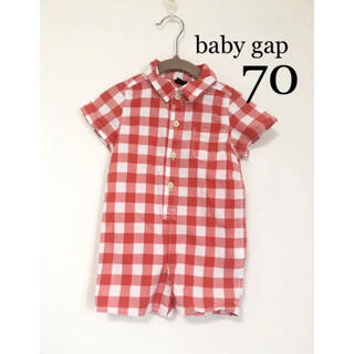 ベビーギャップ(babyGAP)のbaby gap ロンパース  シャツ つなぎ 半袖 赤 ギンガムチェック(ロンパース)