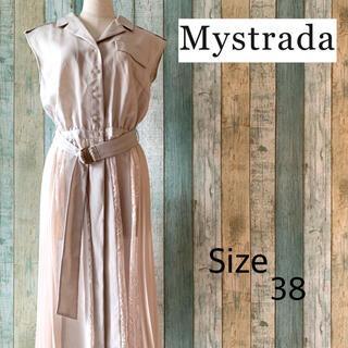 Mystrada - 【美品】Mystrada レース切り変え ノースリーブ ワンピース ガウン 38
