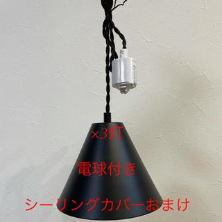 3つセット ペンダントライト 照明 LED電球付き 吊り下げ ダクトレール(天井照明)