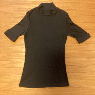 アメリカンアパレル(American Apparel)のアメリカンアパレル ハイネック リブTシャツ 黒(Tシャツ/カットソー(半袖/袖なし))