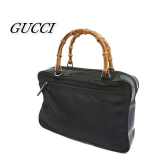 グッチ(Gucci)のGUCCI グッチ ハンドバッグ ナイロン ブラック バンブー(ハンドバッグ)