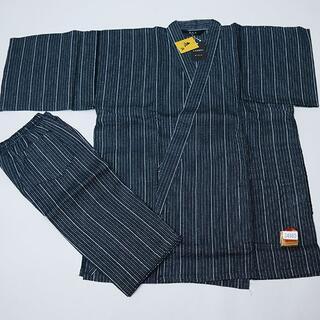 甚平 男性用 麻混 Lサイズ 175cm-185cm 黒系 縞 NO34980(その他)