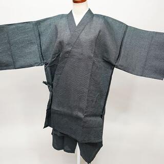 甚平 男性用 麻混 Lサイズ 175cm-185cm 黒系 縞 NO35011(その他)