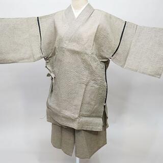 甚平 男性用 麻混 Mサイズ ベージュ チェック NO35012(その他)