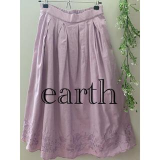 アースミュージックアンドエコロジー(earth music & ecology)のearth 紫 スカート 膝下(ひざ丈スカート)