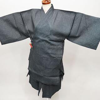 甚平 男性用 麻混 Mサイズ 165cm-175cm 黒系 縞柄 NO34972(その他)