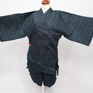 甚平 男性用 麻混 Mサイズ 165-175cm 黒系 縞柄 NO34974(その他)