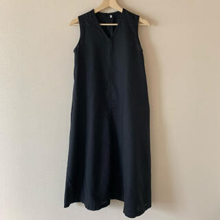 MUJI (無印良品) - 無印 フレンチリネン洗いざらしノースリーブワンピース 婦人S・黒