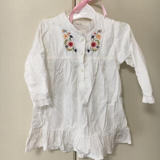 ニシマツヤ(西松屋)の花刺繍ワンピース シャツワンピース キッズ size 90 刺繍 ワンピース(ワンピース)