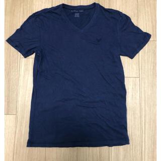 アメリカンイーグル(American Eagle)のアメリカンイーグル Tシャツ カットソー XS Vネック ネイビー 紺(Tシャツ/カットソー(半袖/袖なし))