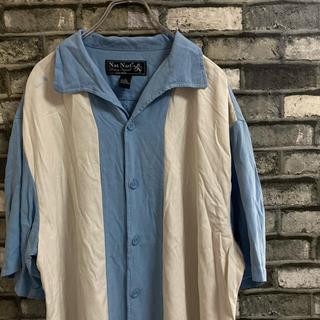 【古着】キューバシャツ オープンカラー スカイブルー ホワイト ステッチ
