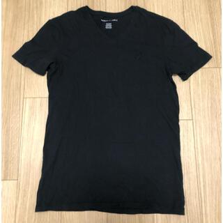 アメリカンイーグル(American Eagle)のアメリカンイーグル Tシャツ カットソー XS Vネック ブラック 黒(Tシャツ/カットソー(半袖/袖なし))