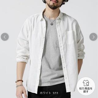 ナノユニバース(nano・universe)のナノユニバース ハードマンリネン 麻混 長袖シャツ 白 Sサイズ メンズ 未使用(シャツ)