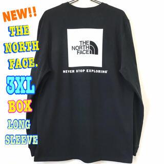 ザノースフェイス(THE NORTH FACE)のビッグサイズ  新品 ノースフェイス BOX ロンT 黒 白 3XL 4L(Tシャツ/カットソー(七分/長袖))