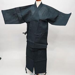 作務衣 男性用 麻混 Mサイズ 身長165~175cm 黒地 NO35008(その他)
