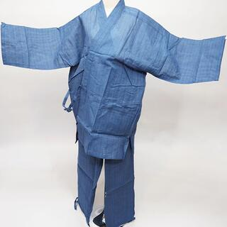 作務衣 男性用 麻混 LLサイズ 身長175~185cm 紺地 NO35009(その他)