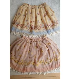 オリーブデオリーブ(OLIVEdesOLIVE)のオリーブ・デ・オリーブ 花柄スカート+ おまけスカート(ひざ丈スカート)