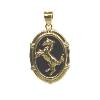 K18 18金 ゴールド オニキス ペンダントトップ ホース 馬 新品 メンズ