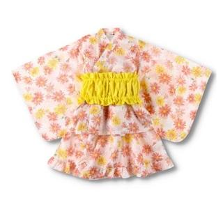 Branshes - ブランシェス 浴衣 花柄 オレンジ